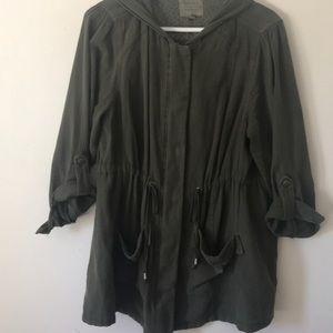 Torrid olive green hooded anorak jacket